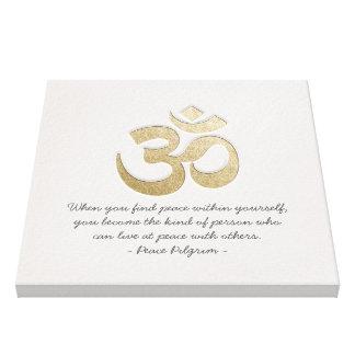 Weiß u. GoldOM-Symbol YOGA Meditations-Lehrer Leinwanddruck
