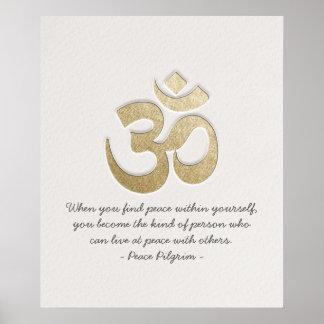 Weiß u. GoldOM-Symbol YOGA Meditations-Lehrer Poster