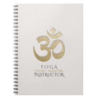 Weiß u. GoldOM-Symbol YOGA Meditations-Lehrer Spiral Notizblock