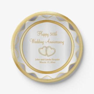 Weiß u. Hochzeitstag des Gold50. Pappteller