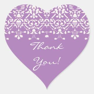 Weiß u. Lavendel-Damast danken Ihnen Aufkleber
