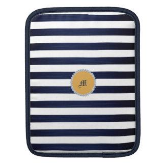 Weiß- u. Marineblauseeseemannstreifen Sleeve Für iPads