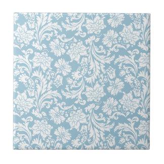 Weiß u. Pastell+blaue Vintage Blumendamaste Kleine Quadratische Fliese