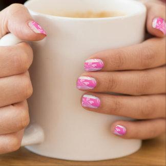 Weiß u. rosa mit rosa Blumendruck Minx Nagelkunst