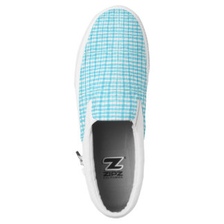 Weiß u. Türkis kariert - Zipz Beleg auf Schuhen, Slip-On Sneaker