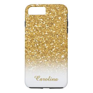 Weiß und GoldGlitter, personalisiert mit Namen iPhone 8 Plus/7 Plus Hülle