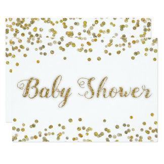 Weiß und GoldGlitzerconfetti-Baby-Dusche 12,7 X 17,8 Cm Einladungskarte