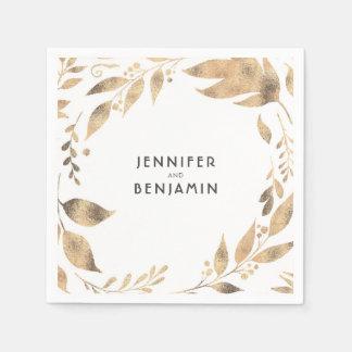 Weiß und GoldHerbstlaub-elegante Hochzeit Papierservietten