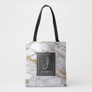 Weiß und Goldmarmormonogramm-Buch-Tasche Tasche