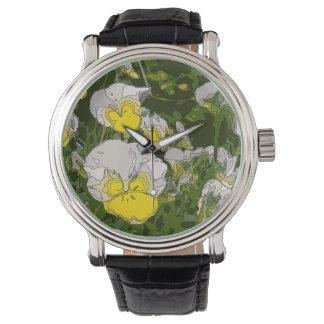 Weiß und Goldnarzissen-Blumen Armbanduhr