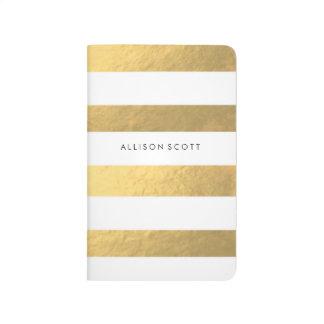 Weiß und Goldpersonalisierte Zeitschrift Taschennotizbuch
