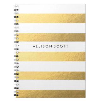 Weiß und Goldpersonalisiertes Notizbuch