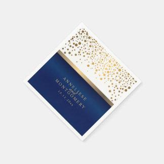 Weiß und Marine-Blau mit Goldconfetti-Punkten Papierservietten