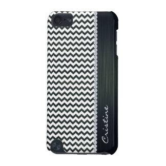 Weiß- und Marineblauzickzack personalisiert iPod Touch 5G Hülle