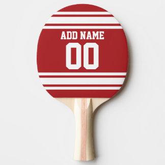 Weiß und Rot trägt Jersey-Name-Zahl zur Schau Tischtennis Schläger
