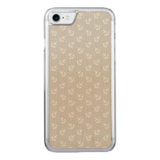 Weiß verankert Gletscher-graues Hintergrund-Muster Carved iPhone 8/7 Hülle