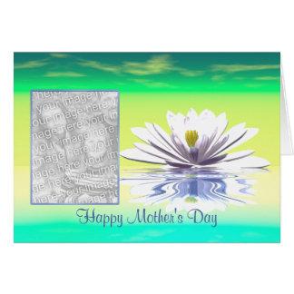 Weiß-Wasser-Lilie der Mutter Tages(Fotorahmen) Karte