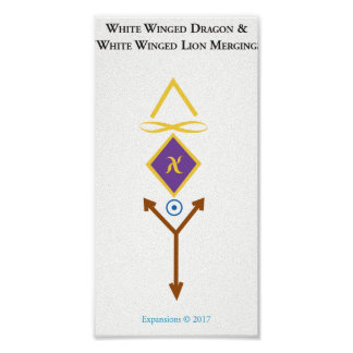 Weiß Winged Löwe-Weiß Winged Drache-Plakat Poster