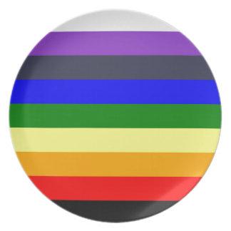 Weiß, zum des Regenbogens der Farbkräfte zu Teller