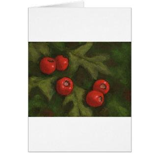 Weißdorn-Beeren im Öl-Pastell: Ursprüngliche Kunst Karte