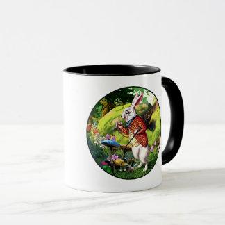 """Weiße """"Alice im Wunderland-"""" Ostern-Tassen des Tasse"""