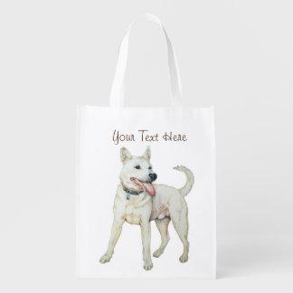 Weiße amerikanische Bulldogge, die ursprüngliche Wiederverwendbare Einkaufstasche