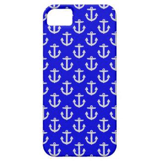 Weiße Anker auf blauem Hintergrund iPhone 5 Hülle