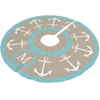 Weiße Anker und aquamarines Seil-Seemonogramm Polyester Weihnachtsbaumdecke