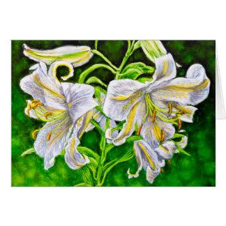 Weiße asiatische Lilien Karte