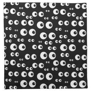 Weiße Augen/schwarze Hintergrund-Stoff-Servietten Stoffserviette