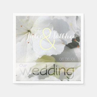 Weiße Azalee Personlized Wedding Papierserviette