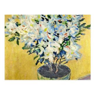 Weiße Azaleen in einem Topf - Claude Monet Postkarte
