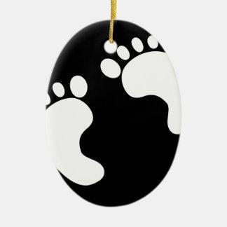 Weiße Baby-Abdrücke Keramik Ornament