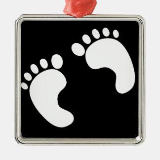 Weiße Baby-Abdrücke Silbernes Ornament