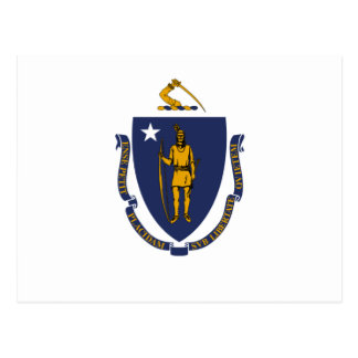 Weiße Blau-und Goldflagge von Massachusetts Postkarte