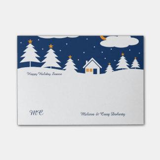 Weiße blaue Winter-Weihnachtszeit Post-it Klebezettel