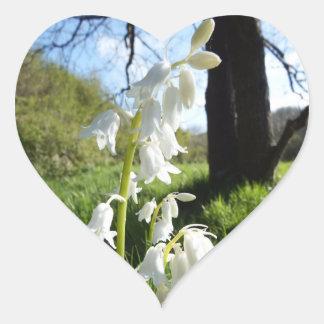 Weiße Bluebells-Aufkleber Herz-Aufkleber