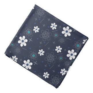 Weiße Blume des retro blauen Aqua der Bandanna Kopftuch