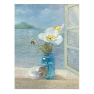 Weiße Blume, die das Meer übersieht Postkarten