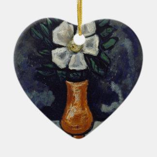 Weiße Blume - Marsden Hartley Keramik Herz-Ornament