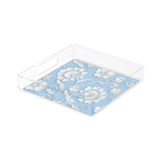Weiße Blumen auf Baby-Blau Acryl Tablett