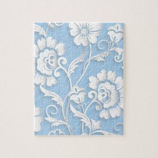 Weiße Blumen auf Baby-Blau Puzzle
