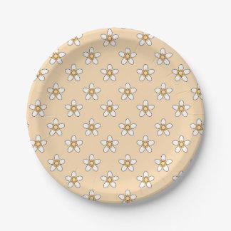 """weiße Blumen auf gelbem Feld 9"""" Papierplatte Pappteller"""