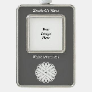 Weiße Blumen-Band-Schablone (Vl) Rahmen-Ornament Silber