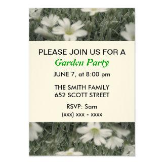 Weiße Blumen-Garten-Party Einladung