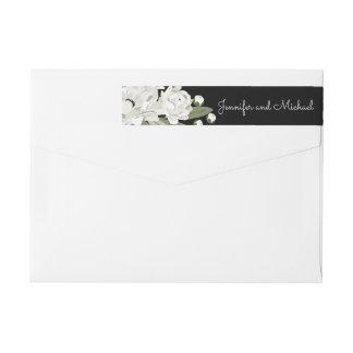 Weiße Blumenhochzeitsprigs-Rücksendeadresse