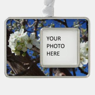Weiße Blüte gruppiert sich Frühlings-blühenden Rahmen-Ornament Silber