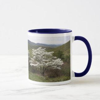 Weiße Blüten auf Skyline-Antrieb Tasse