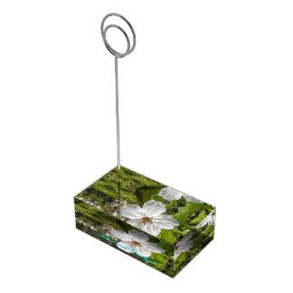 Weiße Blüten-personalisierte Hochzeit Platzkartenhalter