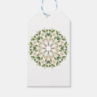 Weiße Blüten-Verzierung Geschenkanhänger